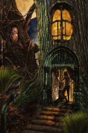 secrets: Girl in fairy forest found the secret entrance to the dungeon. Stock Photo