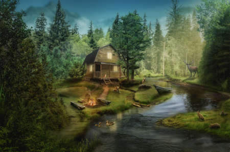 log house: house in the the forest by the creek (illustration of a fictional situation, in the form collage of photos)