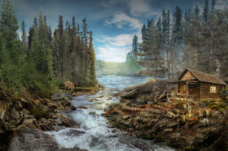 log cabin: Foresters Cabin by the river in the forest (illustration of a fictional situation, in the form collage of photos)