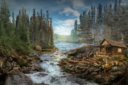 anochecer: La cabaña del Forester por el río en el bosque (ilustración de una situación ficticia, en la forma collage de fotos)