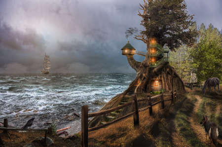 cliffs: fabulous lighthouse on a high sea coast, (illustration of a fictional situation, in the form collage of photos)