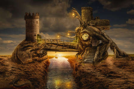 inaccessible: fairy house fort over the water channel in the desert, (illustration of a fictional situation, in the form collage of photos)