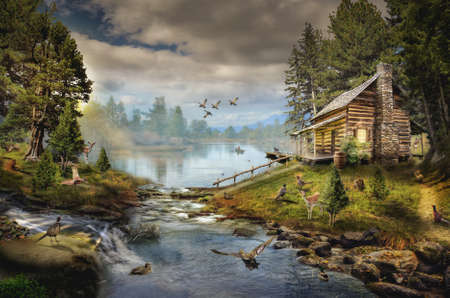 shelter: house in the the forest by the creek illustration of a fictional situation, in the form collage of photos Stock Photo