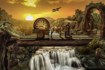 appears: greybeard on the time bridge Concept Everything is not what it appears, and not vice versa. Stock Photo
