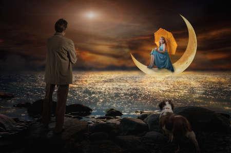 Der Dialog mit dem Mond Illustration einer fiktiven Situation, in der Form Collage aus Fotos