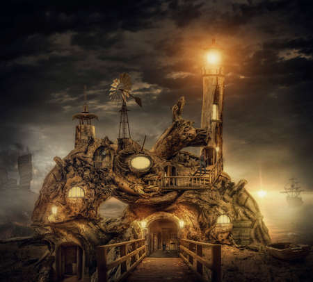 root canal: fairy house fort  in the desert, illustration of a fictional situation, in the form collage of photos Stock Photo