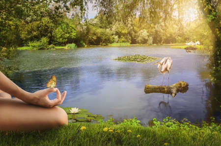 spirituality: meditation on the shore of the lake