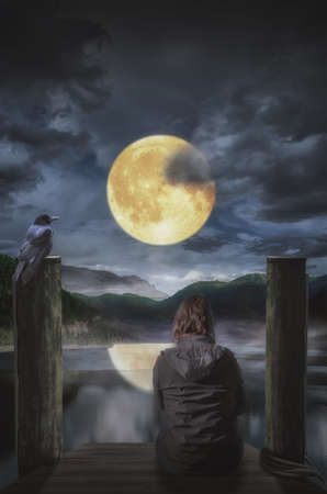 alone: thinking alone in the moonlight