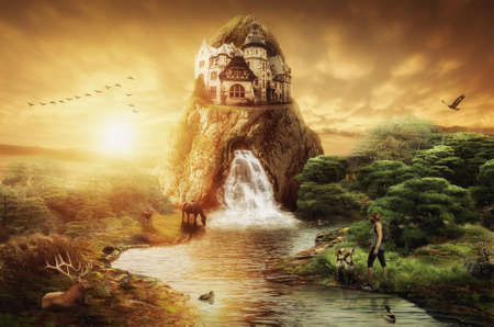 evening: Fairy Palace with a waterfall against the evening sunset Stock Photo