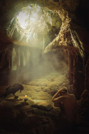 In search of truth. A man in a deplorable state of mind in a cave