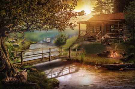 idyll: old wooden house by the stream on a summer evening