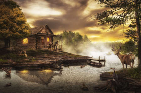 dream house: old wooden house by the stream on a summer evening