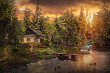 Foresters Cabin by the river in the forest (illustration of a fictional situation, in the form collage of photos)