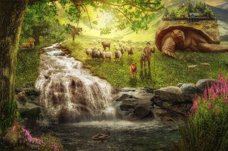 nomad: Nomad Cowherd his flock and the village explores new habitat