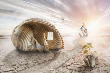 explores: Little girl explores a fantastic house in the desert