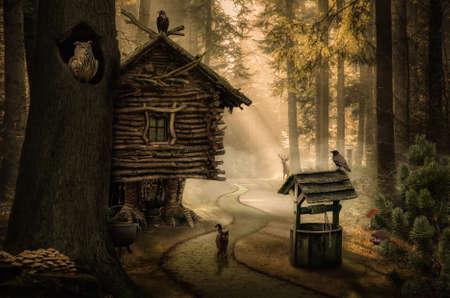 暗い森の中のパスの横に妖精魔女の家
