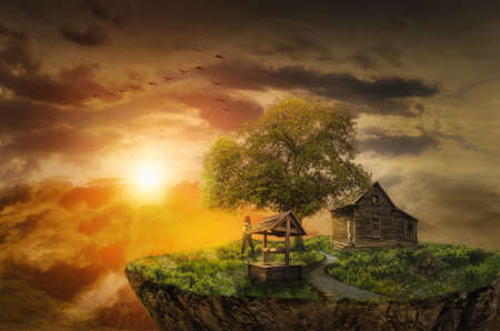 lonely girl on the flying island looks at bright sunset next to the house of his childhood
