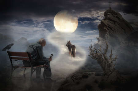 faithful: lonely old man and his faithful dog walking on the lunar road