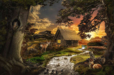 illusions: old decrepit house near a stream at sunset in the fabulous valley Stock Photo