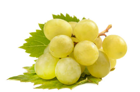 berries and a branch of grapes on a white background, blank for your photo manipulations Stock Photo