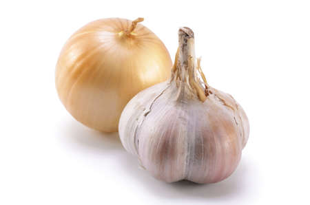 onion and garlic on white background with soft shadow