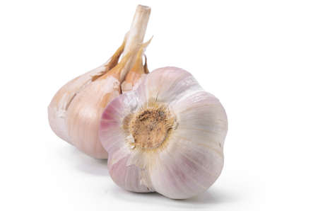 Raw garlic on white background with soft shadow