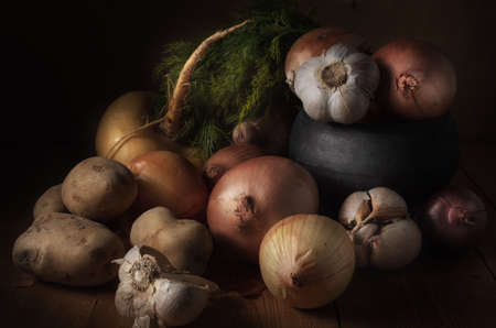 vegetables on a dark wooden background in a rustic style