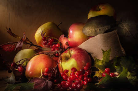 apples in a cloth bag on a dark wooden background in a rustic style