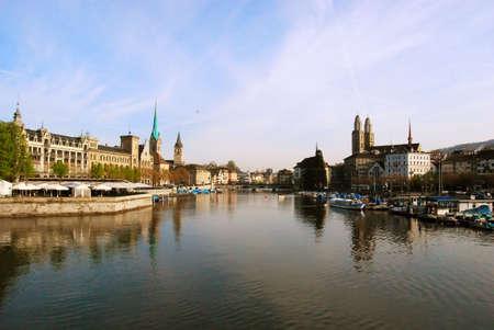 View of Zurich town center and river Limmat, Switzerland photo