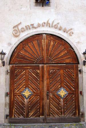 Antique wooden door close-up photo