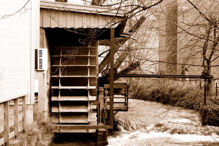 gristmill: Sepia watermill in southern Germany Stock Photo