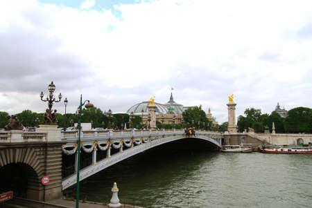water nymph: Alexanders bridge over Seine, Paris, France Stock Photo