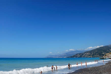 menton: Menton beach and mediterranean sea, Genova area, Italy