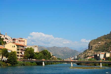 spezia: Bridge in Menton town, Italy Stock Photo