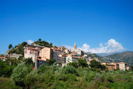 menton: Village on the hill, Italy, Menton area Stock Photo
