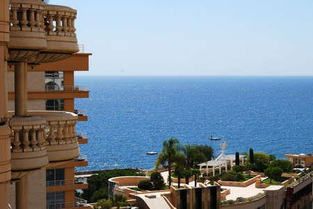 glamour luxury: Monaco: glamour luxury hotel and sunlit sea