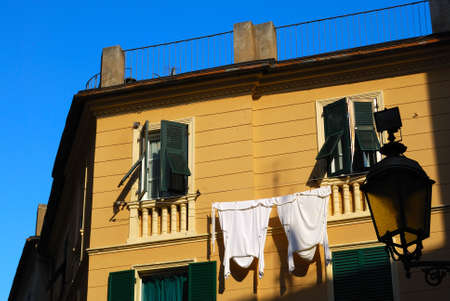 feature: Italian feature - drying laundry, Arenzano, northern Italy