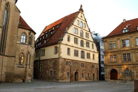 stuttgart: Large medieval house on Market Square in the center of Stuttgart, Germany