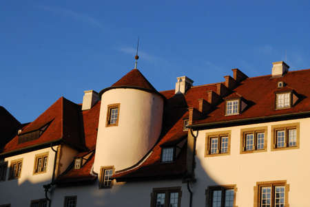 fortified: Fortified medieval houses exterior, Stuttgart, Germany Stock Photo