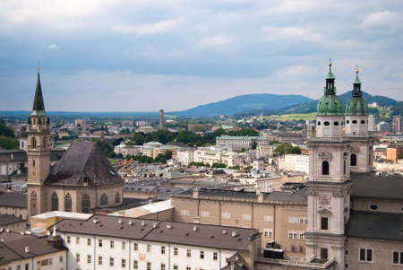 Salzburg church and Alps panoramic view, Austria photo