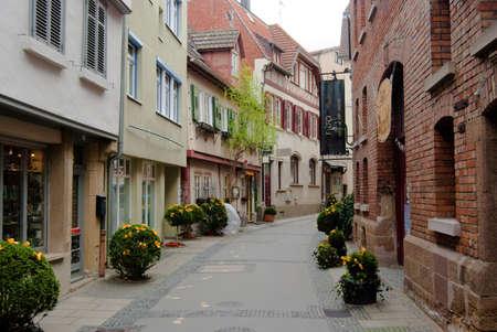 stuttgart: Quiet lane with decorated bushes in Stuttgart - Bad Cannstadt old town center