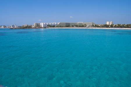 Clear waters of Mediterranean Sea near Sa Coma resort, Majorca island photo