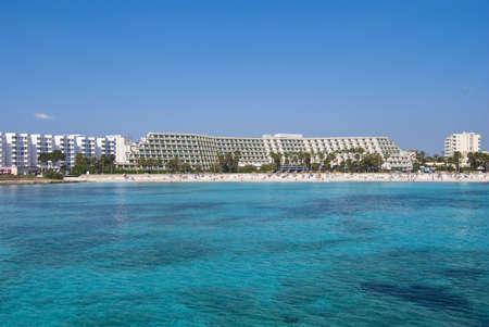 coma: Sa Coma hotels and Mediterranean Sea on Majorca island, Spain