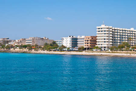 Sa Coma resort town and the beach of Mediterranean Sea, Spain photo