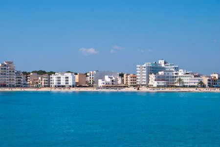 Beach of Mediterranean Sea in Sa Coma suburbs, Majorca island, Spain photo