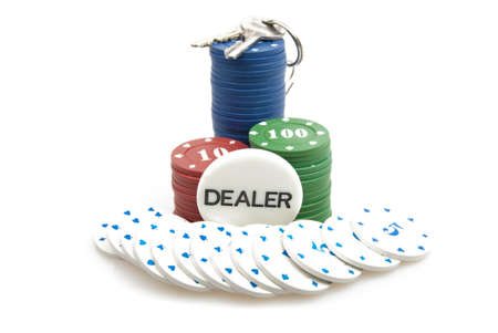 all in: All in - poker chips and the keys isolated against white background