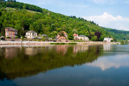 Neckar river and residential houses on Heidelberg coast, Baden Wuerttemberg, Germany Stock Photo - 10284871