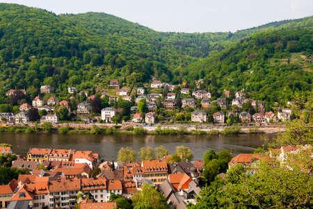 Hills and Neckar river in Heidelberg, Baden Wuerttemberg, Germany photo