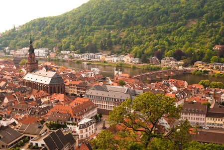 Heidelberg old town, old bridge and the church, Baden Wuerttemberg, Germany photo