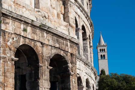 Coliseum wall close up, Pula, Croatia photo